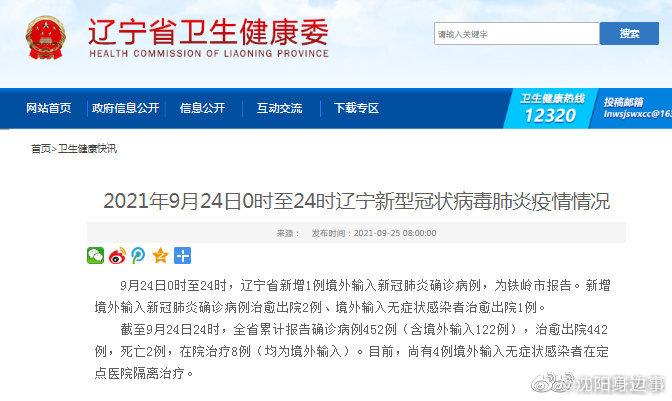9月24日0时至24时,辽宁省新增1例境外输入新冠肺炎确诊病例……