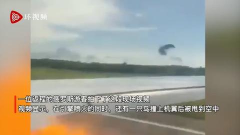 俄罗斯航空一飞机起飞时撞鸟,引擎处瞬间喷出火焰