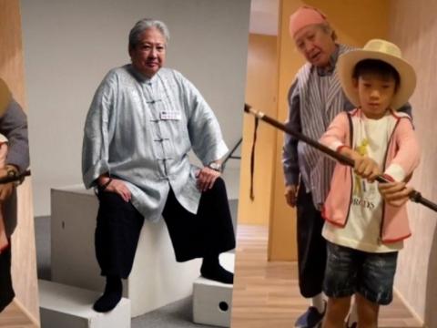 69岁洪金宝近况曝光,用拐杖当道具,教孙子耍棍画面超温馨