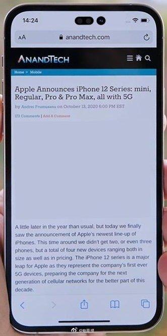 iPhone14刘海或变成横向感叹号