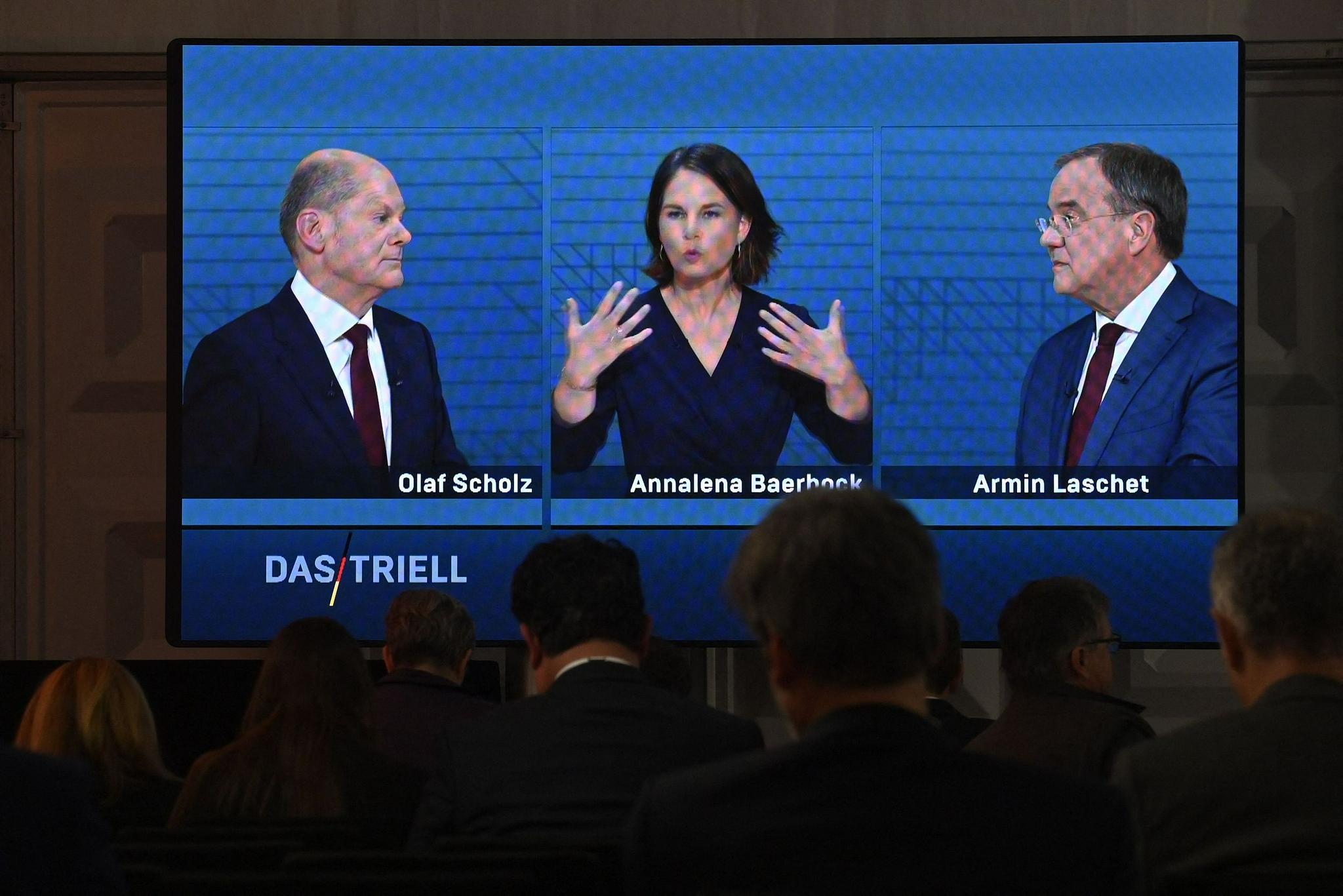 德国大选候选人电视辩说@视觉中国