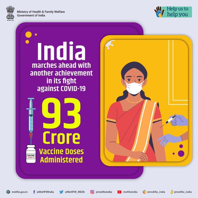 印度卫生部门制作的9.3亿剂疫苗宣传图