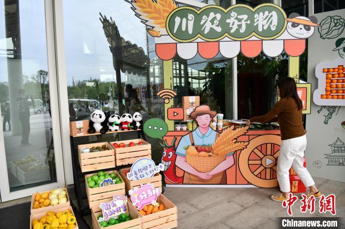 """四川省""""直播天府""""乡村振兴计划启动仪式现场展出的""""川农好物""""农产品。张浪摄"""