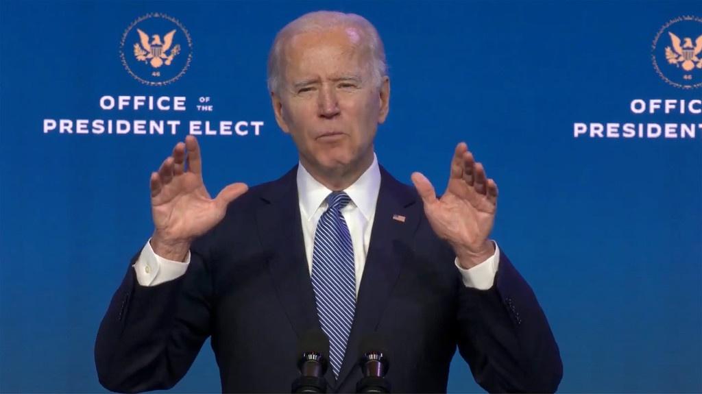 当地时间2021年1月7日,美国特拉华州威尔明顿,美国总统当选人拜登发表讲话 图源:澎湃影像