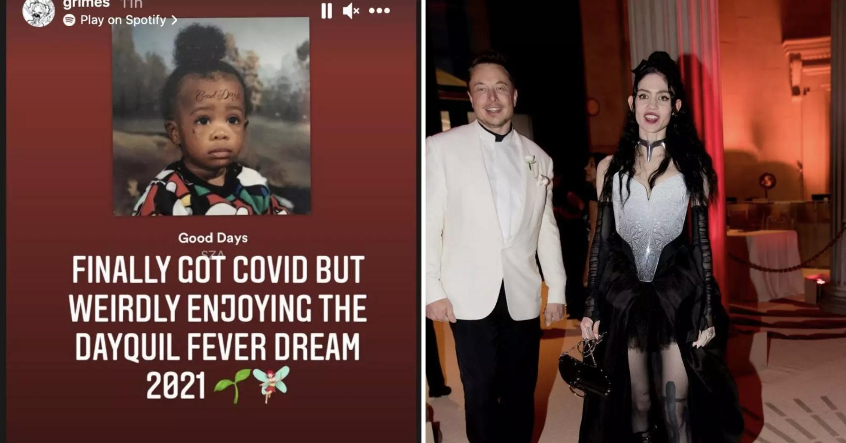 左:格莱姆斯Instagram帖子截图,右:两人在2018年Met Gala上以情侣身份亮相