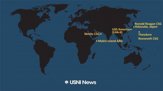"""美国海军舰队部署图,中东地区有即将回家的""""尼米兹"""",""""罗斯福""""号即将前往印太地区 图源:USNI"""