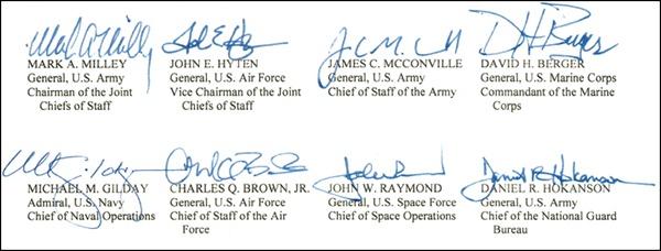 联合声明最后的美军高层领导人签名截图