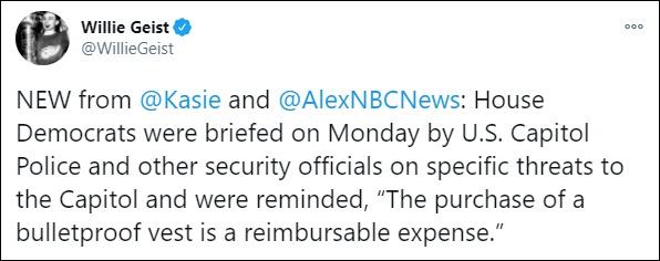 美国国会山警察本周透露,议员购买防弹衣的费用可以报销
