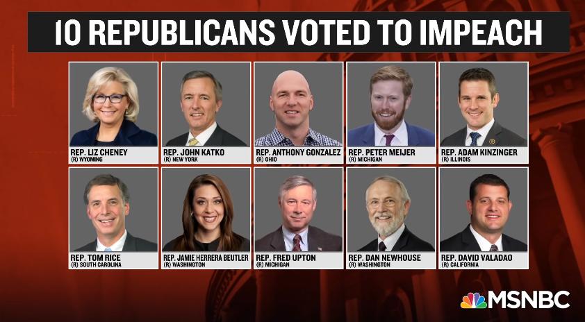 10名支持弹劾特朗普的共和党众议员 视频截图