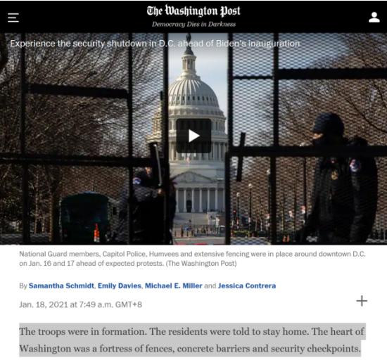 """美国首都终于""""封城""""了 像一座武装营地"""