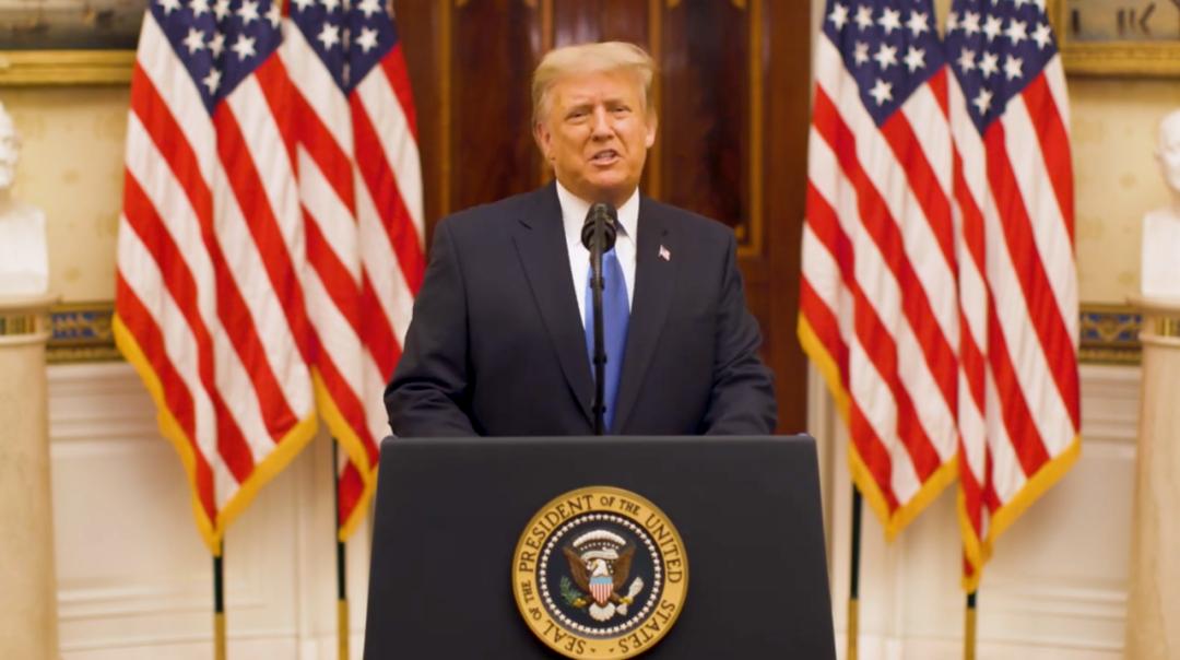 特朗普告别演说。/视频截图