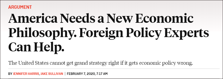 """沙利文曾发文称:美国需要一套新的""""经济哲学"""""""