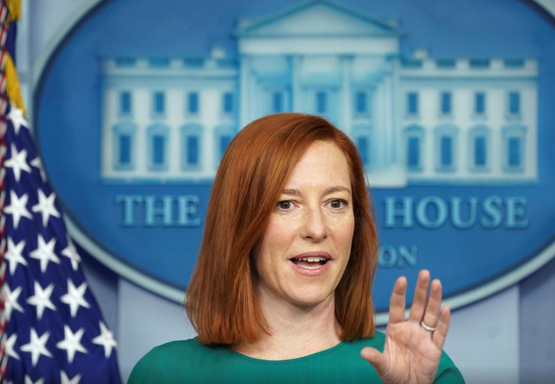 1月25日,白宫新闻秘书珍·普萨基在白宫对记者讲话(图源:外媒)