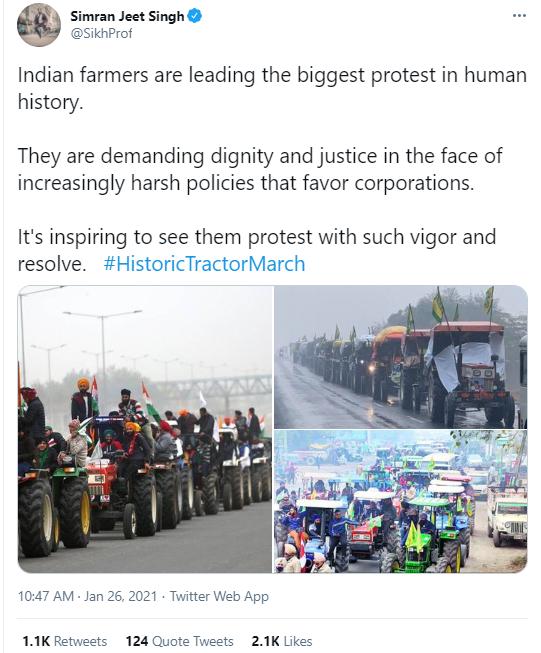 (图为驾驶拖拉机和摩托车开赴印度首都新德里的印度农民,以及其他声援他们的印度农民)