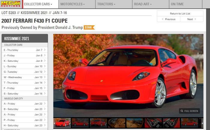 称,曾属美国总统特朗普的法拉利F430即将进行拍卖。图片来源:梅克姆拍卖行网站截图。