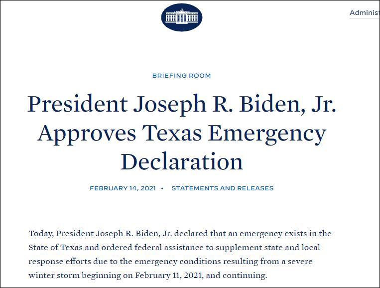拜登宣布得州进入紧急状态 图自白宫