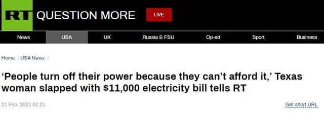 RT:德克萨斯州一名收到11000美元电费账单的女性告诉RT,人们因为付不起电费而切断了电源
