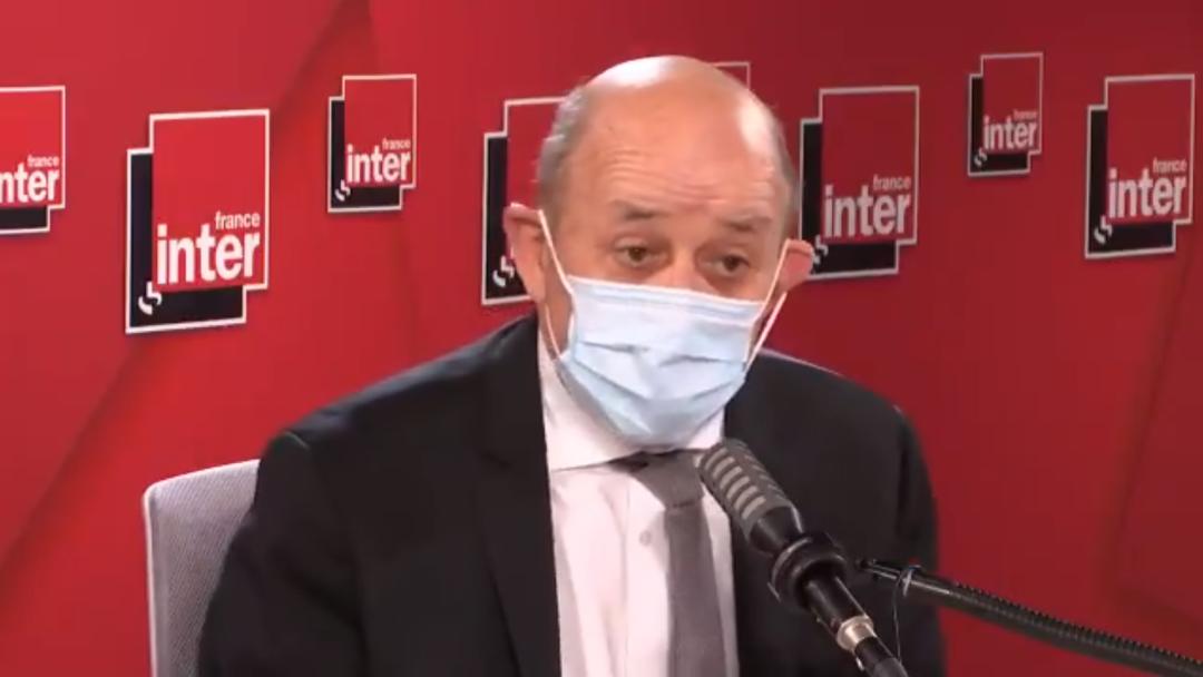 法国外交部长勒德里昂2月18日接受法国国际新闻广播采访 图源:法广
