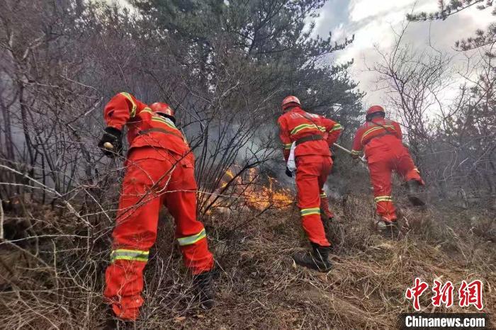 2月19日10时25分许,山西省阳泉市平定县张庄镇范家掌村发生山火。武警山西总队供图