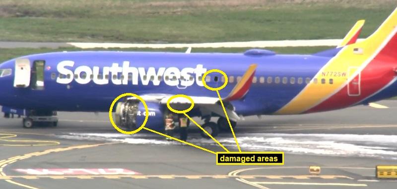 2018年4月17日美西南航空A320发动机空中爆炸,为非包容性故障,发动机破片对机体造成损伤并导致一名旅客死亡
