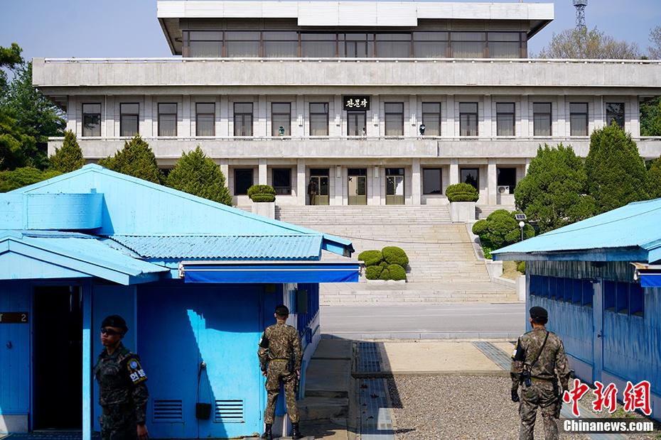 图4 资料图:图为在韩方一侧自由之家,可看到对面朝方一侧的板门阁。中新社记者 吴旭 摄