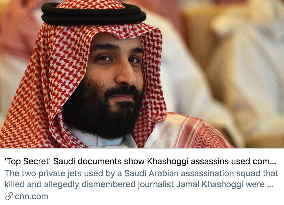 """▲沙特""""最高机密""""文件显示,杀害卡舒吉的杀手与沙特王储掌握的公司有关。/ CNN报道截图"""