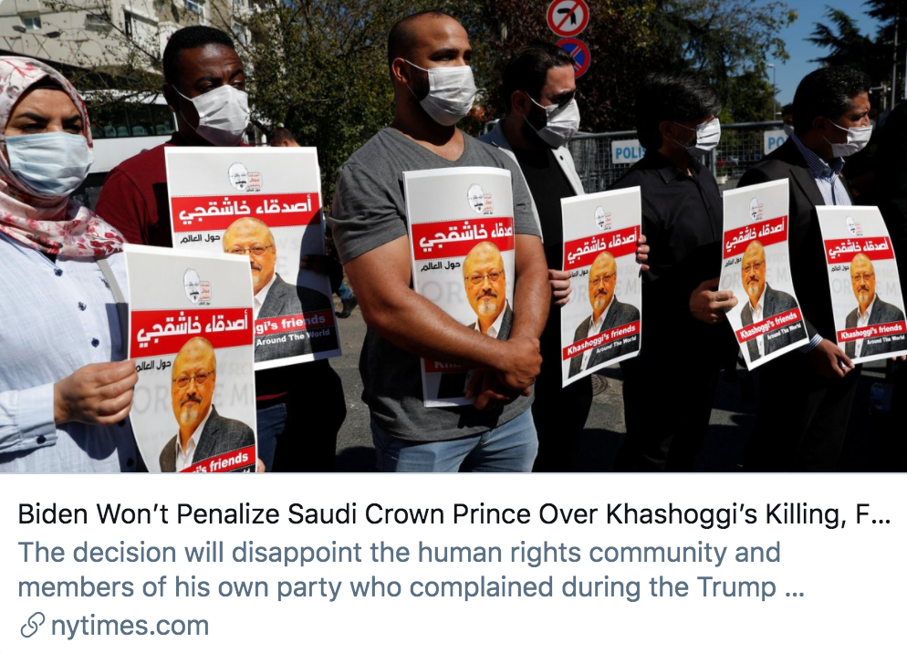 ▲由于担心关系破裂,拜登不会因卡舒吉被杀而惩罚沙特王储。/ 《纽约时报》报道截图