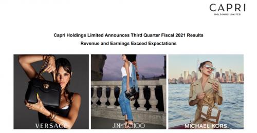 快讯   Michael Kors母公司Capri2021财年Q3销售额下滑17%,电商收入大涨65%