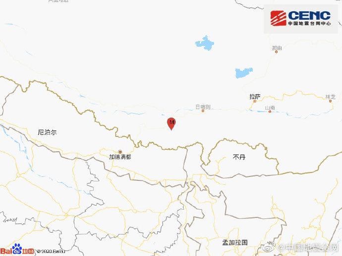 西藏日喀则市定日县发生4.3级地震,震源深度28千米