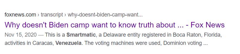(图为去年11月美国大选后,福克斯新闻网发布的其中一则帮特朗普一方指控Smartmatic公司操控美国大选结果的虚假新闻)