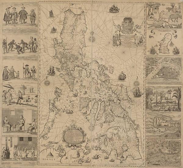 """耶稣会士维拉德的《菲律宾群岛水道与地理图》(1734年)将黄岩岛描绘为""""受西班牙治下的菲律宾控制"""",被菲律宾视作反驳中国南海九段线主张的""""关键证据"""" 图自美国国会图书馆"""
