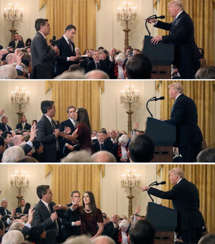 2018年阿科斯塔在记者会上与特朗普发生冲突⠠图源:推特