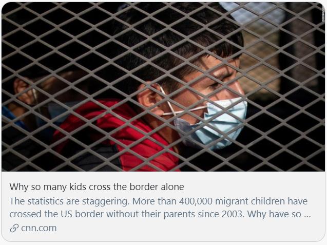 为什么这么多儿童独自跨越边境?CNN报道截图