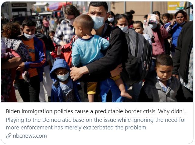 """拜登的移民政策引起了一场""""可预见的边境危机""""。NBC报道截图"""