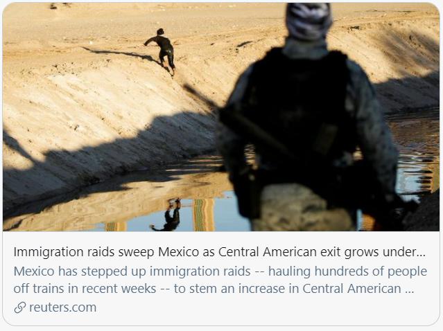 大批中美洲移民来到墨西哥。路透社报道截图