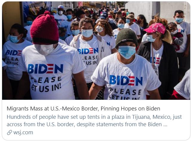 大量移民来到美墨边境,对拜登寄予希望。《华尔街日报》报道截图