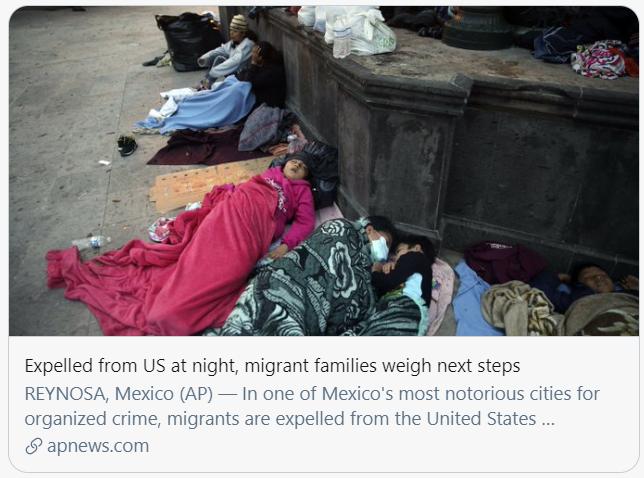 被从美国驱逐的移民正在思考下一步。美联社报道截图