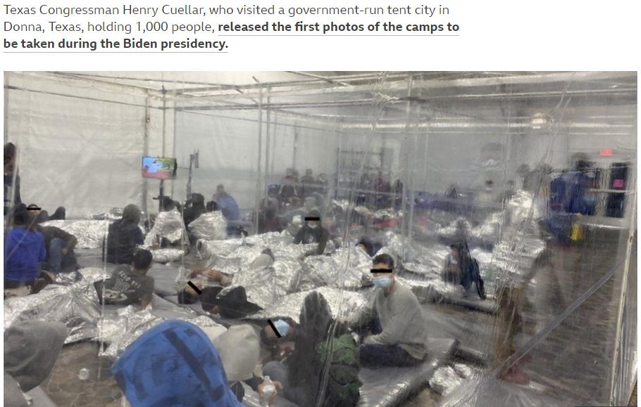 美墨边境收容和拘留的无人陪伴儿童移民。BBC报道截图
