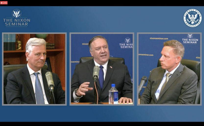 奥布莱恩、蓬佩奥及泰尔(自左及右)出席线上会议