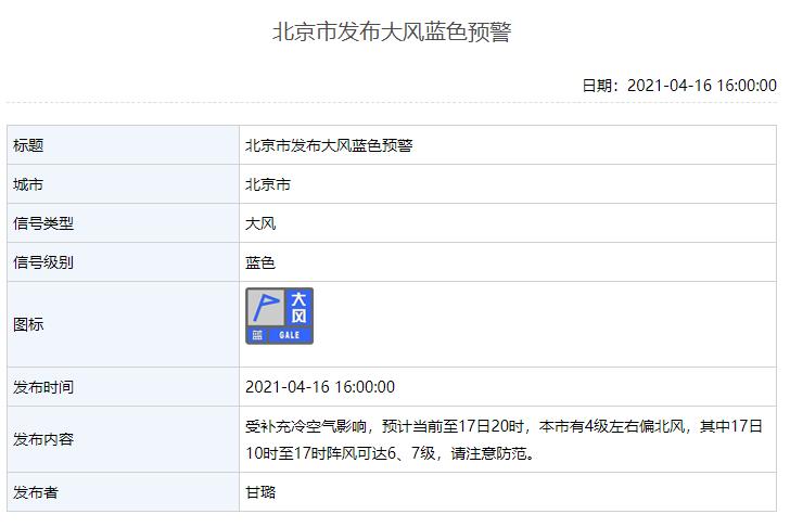 阵风可达6、7级!北京继续发布大风蓝色预警