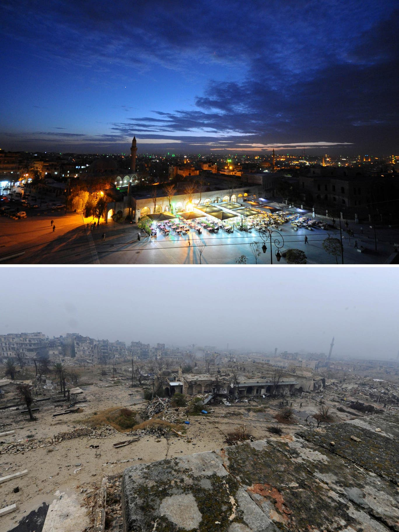 △2008年(上)與2016年(下),阿勒頗舊城