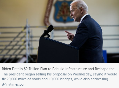 拜登详细介绍了2万亿美元的计划,以重建基础设施并重塑经济。/ 《纽约时报》报道截图