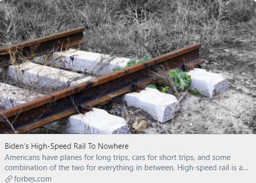 拜登的高铁无路可走。/《福布斯》杂志报道截图