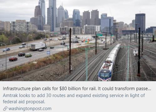基础设施计划要求投资铁路800亿美元,或将改变载客服务。/ 《华盛顿邮报》报道截图