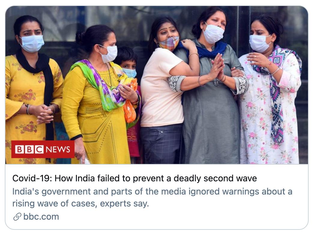印度如何未能阻止致命的第二波浪潮。/BBC报道截图