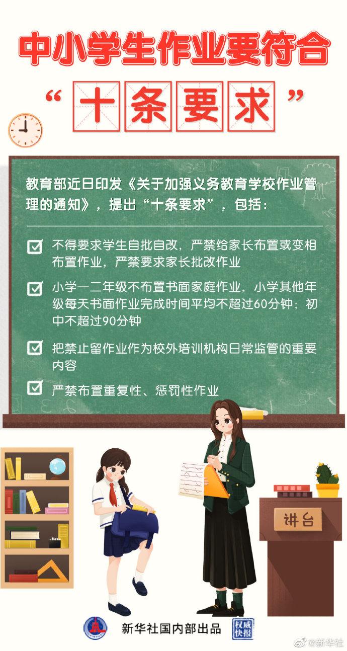 教育部提出中小學生作業辦理十條要求
