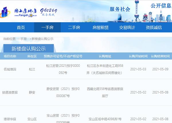 """上海首批9个新楼盘""""同窗""""公示认购信息 个人认购金不高于套均价20%"""