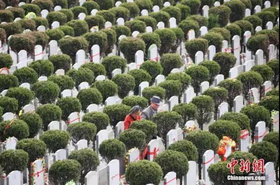资料图:民众扫墓寄哀思。 泱波 摄
