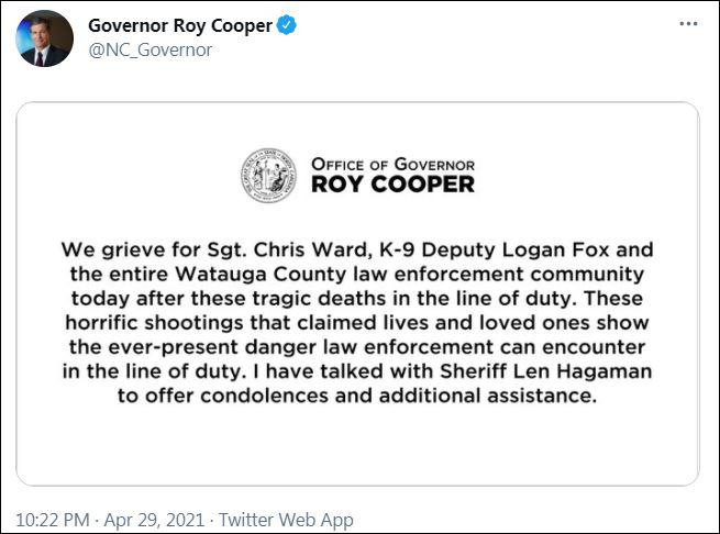 罗伊·库珀发布事件声明
