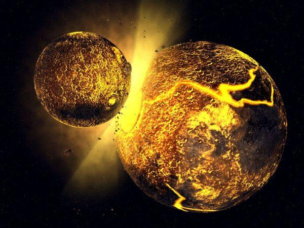 """""""忒伊亚""""撞击地球的艺术想象图。(美国《史密森学会杂志》网站)"""